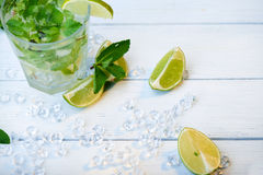 Scattered ice, lime and mint Royalty Free Stock Photography