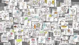 Free Scattered Images Of Cartoon People And Everyday Life Royalty Free Stock Photo - 110419375