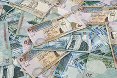 Scattered Jordanian banknotes Royalty Free Stock Images