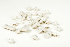 Scattered keyboard keys on white. Background, stock photo royalty free stock photography
