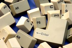 Scattered keys. Lots of scattered keyboard keys stock photo