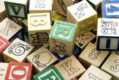 Scattered Learning Cubes Royalty Free Stock Photography
