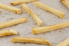Scattered lot of sticks of french fries on gray crumpled paper. Scattered lot of sticks of tasty french fries on gray crumpled paper stock photography