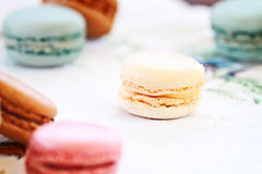 Scattered Macarons Stock Photography