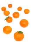 Scattered mandarins on white background (vertical shot) Royalty Free Stock Image