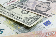 Scattered money. Royalty Free Stock Photo