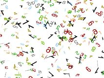 Scattered numbers. 3d scattered numbers on an isolated white background Stock Photo