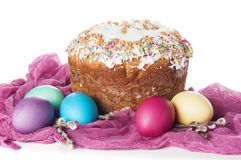 Scattered painted easter chicken eggs, traditional orthodox chri Stock Images