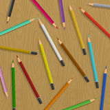 Scattered pencils on table vector background. Color pencils illustration vector Stock Images