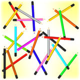 Scattered pencils vector background Royalty Free Stock Images