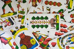 Scattered playing cards Royalty Free Stock Images