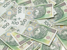 Scattered polish banknotes. Stock Images