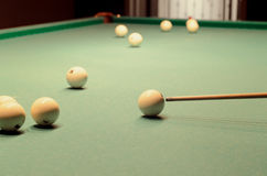 Scattered Pool Balls and Taco on the Table Stock Photography