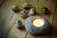 Scattered quail eggs in a straw nest on wood background, kinfolk style, Easter Royalty Free Stock Photography