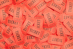 Scattered Red Tickets. Large Pile of Messy Red Tickets Scattered About Royalty Free Stock Photos