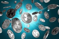 Scattered Ripple coins on a lighted background. Success and growth concept. Perfect for covers, posters, banners and other advertising projects. 3D rendering Royalty Free Stock Photos