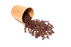 Scattered roasted coffee beans stock photography