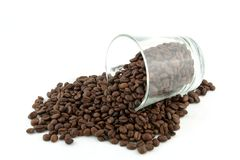 Scattered roasted coffee beans Stock Image