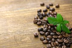 Scattered roasted coffee beans and leaves stock photos