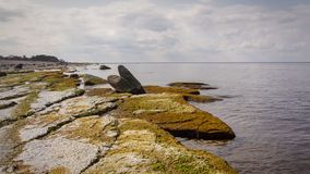 Öland costal view. Scattered rocks on the coast beach of Swedens island of Öland stock photos