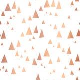 Scattered rose gold foil triangles vector pattern stock illustration