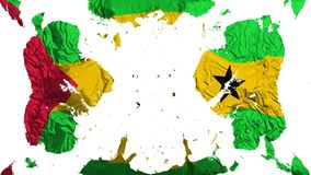 Scattered Sao Tome and Principe flag. White background, 3d rendering vector illustration