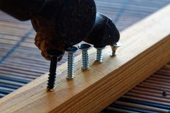 Scattered screws screwed into the wooden plank and small hammer.  Royalty Free Stock Images