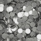 Scattered silver coins closeup background. Pile of money. Financial success, cash flow, business on the rise concept. 3D illustration Royalty Free Stock Photos
