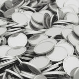 Scattered silver coins closeup background. Pile of money. Financial success, cash flow, business on the rise concept. 3D illustration Stock Image