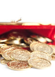 Scattered silver and gold coins Royalty Free Stock Images
