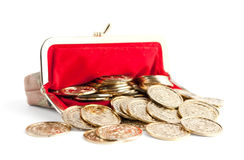 Scattered silver and gold coins Royalty Free Stock Photo
