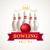 Scattered skittle and bowling ball. Vector Royalty Free Stock Photography