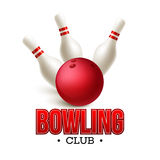 Scattered skittle and bowling ball. Vector Stock Photos