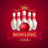 Scattered skittle and bowling ball. Vector illustration Royalty Free Stock Image