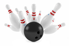 Scattered skittle and bowling ball Stock Images