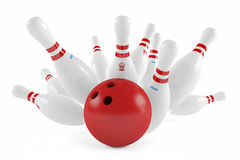 Scattered skittle and bowling ball Stock Photography