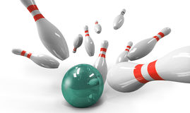 Scattered skittle and bowling ball Royalty Free Stock Photography