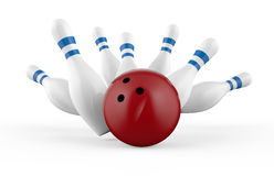 Scattered skittle and bowling ball  Stock Photo