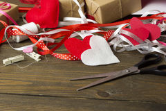 Scattered tools for needlework, from felt heart ribbon Royalty Free Stock Images
