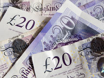Scattered twenty pound notes Stock Image