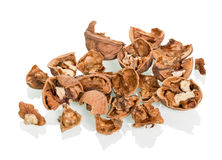 Scattered walnuts royalty free stock photos