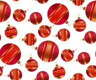 Scattered xmas baubles seamless pattern. Scattered red and gold xmas baubles seamless pattern. Fun Christmas decor element for background, wrapping paper stock illustration
