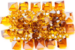 Scattered yellow Monocrystal synthetic diamonds Stock Photo