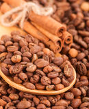 Scattering of coffee beans and cinnamon sticks . Royalty Free Stock Photography