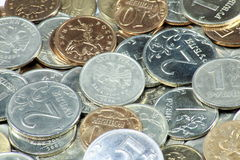 Scattering of coins. Close up Stock Image