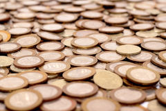 Scattering of coins Royalty Free Stock Images