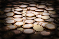 Scattering of coins as a background Royalty Free Stock Photos