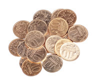 Scattering of coins close up Royalty Free Stock Image
