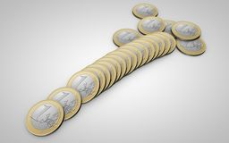 Scattering of coins 1 euro Stock Image
