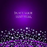 Scattering Of Diamonds On Purple Background. Scattering Of Shining Diamonds On Purple Background Stock Photos